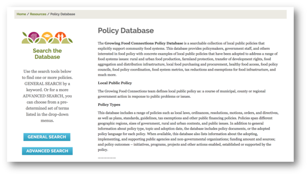 Growing Food Connections Policy Database | Cultivating